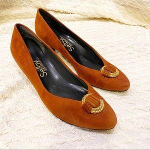 Vintage Shelby Comfort Flex Suede Heels 6 1/2